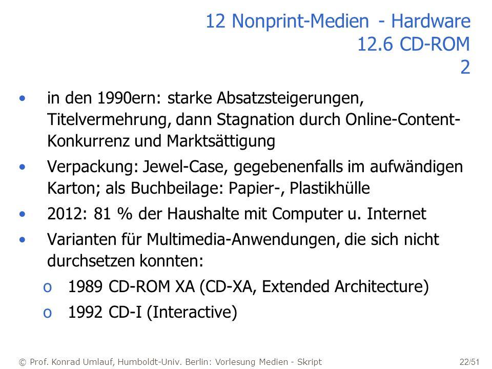 © Prof. Konrad Umlauf, Humboldt-Univ. Berlin: Vorlesung Medien - Skript 22/51 12 Nonprint-Medien - Hardware 12.6 CD-ROM 2 in den 1990ern: starke Absat