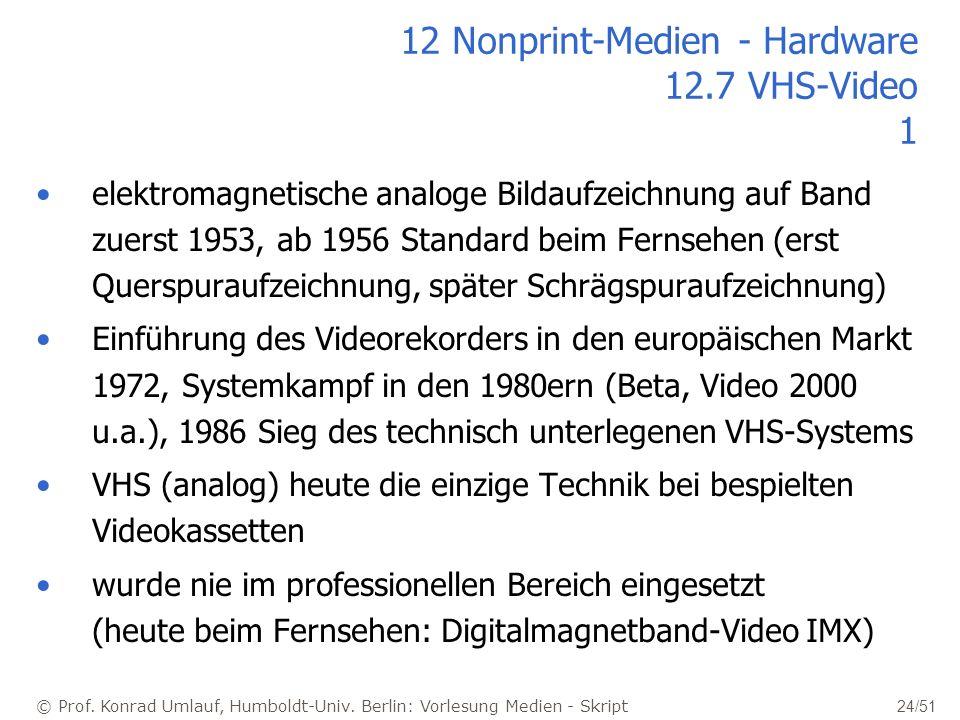 © Prof. Konrad Umlauf, Humboldt-Univ. Berlin: Vorlesung Medien - Skript 24/51 12 Nonprint-Medien - Hardware 12.7 VHS-Video 1 elektromagnetische analog