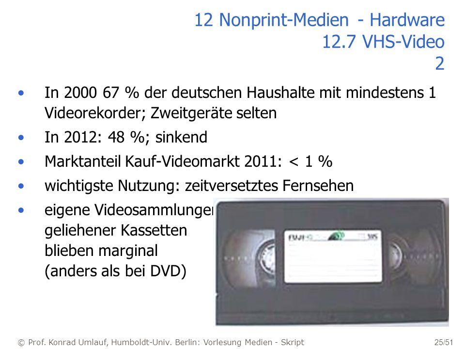 © Prof. Konrad Umlauf, Humboldt-Univ. Berlin: Vorlesung Medien - Skript 25/51 12 Nonprint-Medien - Hardware 12.7 VHS-Video 2 In 2000 67 % der deutsche