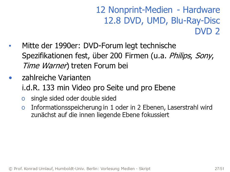 © Prof. Konrad Umlauf, Humboldt-Univ. Berlin: Vorlesung Medien - Skript 27/51 12 Nonprint-Medien - Hardware 12.8 DVD, UMD, Blu-Ray-Disc DVD 2 Mitte de