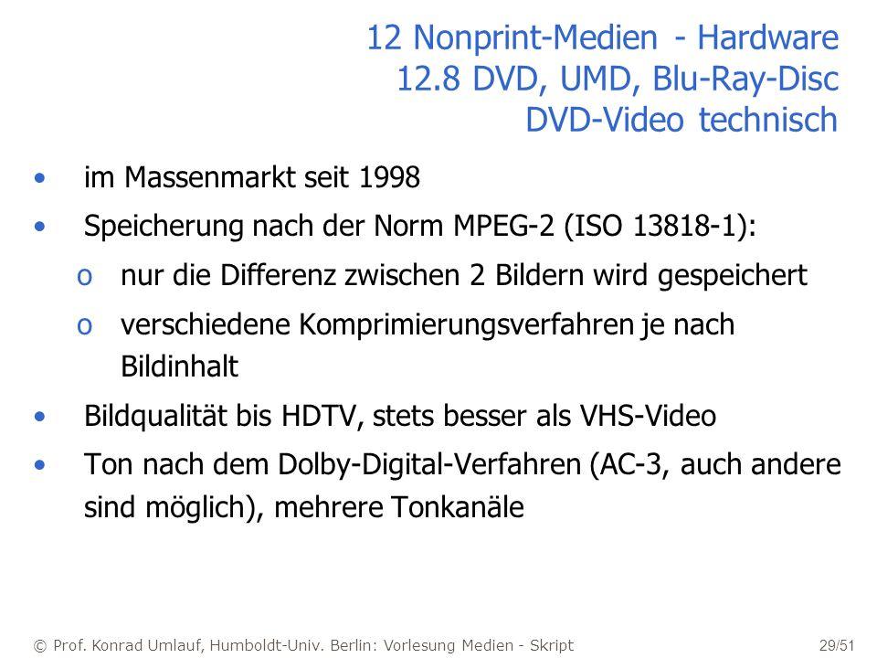 © Prof. Konrad Umlauf, Humboldt-Univ. Berlin: Vorlesung Medien - Skript 29/51 12 Nonprint-Medien - Hardware 12.8 DVD, UMD, Blu-Ray-Disc DVD-Video tech