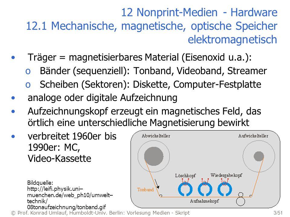 © Prof. Konrad Umlauf, Humboldt-Univ. Berlin: Vorlesung Medien - Skript 3/51 12 Nonprint-Medien - Hardware 12.1 Mechanische, magnetische, optische Spe