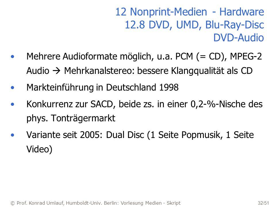 © Prof. Konrad Umlauf, Humboldt-Univ. Berlin: Vorlesung Medien - Skript 32/51 12 Nonprint-Medien - Hardware 12.8 DVD, UMD, Blu-Ray-Disc DVD-Audio Mehr