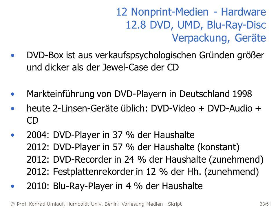 © Prof. Konrad Umlauf, Humboldt-Univ. Berlin: Vorlesung Medien - Skript 33/51 12 Nonprint-Medien - Hardware 12.8 DVD, UMD, Blu-Ray-Disc Verpackung, Ge