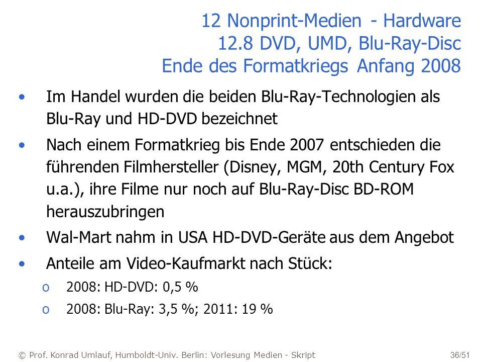 © Prof. Konrad Umlauf, Humboldt-Univ. Berlin: Vorlesung Medien - Skript 36/51 12 Nonprint-Medien - Hardware 12.8 DVD, UMD, Blu-Ray-Disc Ende des Forma