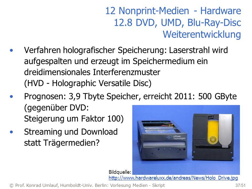 © Prof. Konrad Umlauf, Humboldt-Univ. Berlin: Vorlesung Medien - Skript 37/51 12 Nonprint-Medien - Hardware 12.8 DVD, UMD, Blu-Ray-Disc Weiterentwickl
