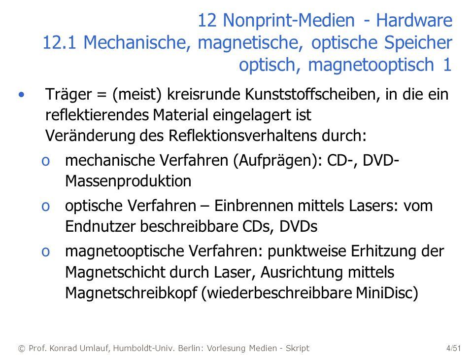 © Prof. Konrad Umlauf, Humboldt-Univ. Berlin: Vorlesung Medien - Skript 4/51 12 Nonprint-Medien - Hardware 12.1 Mechanische, magnetische, optische Spe