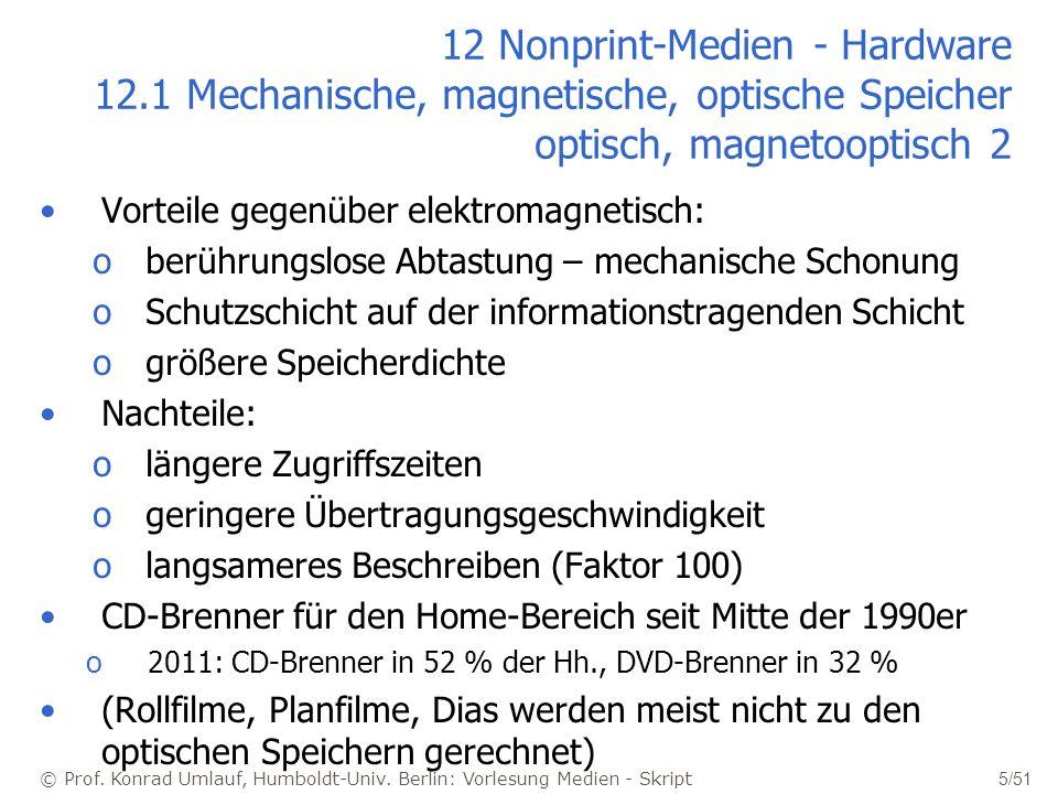 © Prof. Konrad Umlauf, Humboldt-Univ. Berlin: Vorlesung Medien - Skript 5/51 12 Nonprint-Medien - Hardware 12.1 Mechanische, magnetische, optische Spe