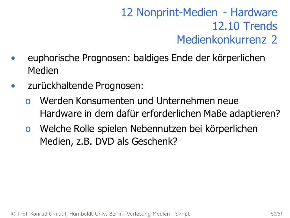 © Prof. Konrad Umlauf, Humboldt-Univ. Berlin: Vorlesung Medien - Skript 50/51 12 Nonprint-Medien - Hardware 12.10 Trends Medienkonkurrenz 2 euphorisch