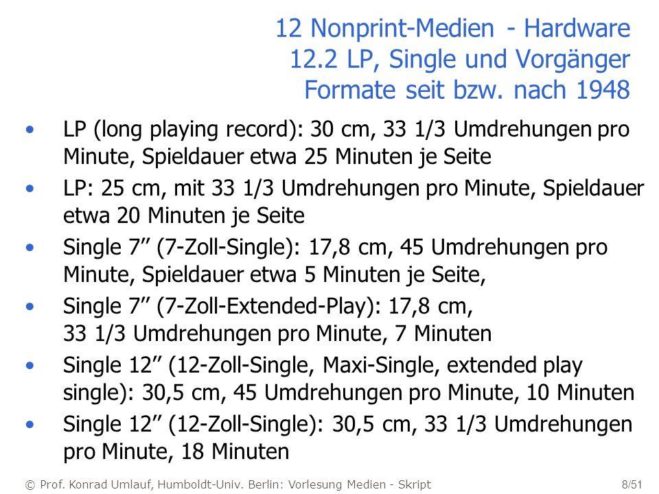 © Prof. Konrad Umlauf, Humboldt-Univ. Berlin: Vorlesung Medien - Skript 8/51 12 Nonprint-Medien - Hardware 12.2 LP, Single und Vorgänger Formate seit