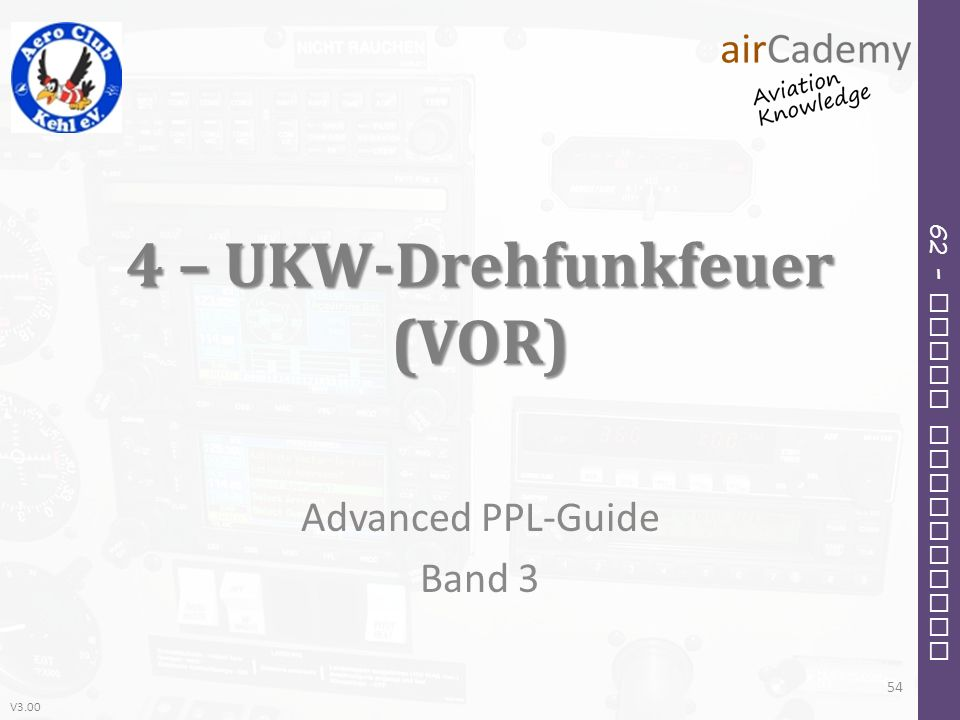 V3.00 62 – Radio Navigation 4 – UKW-Drehfunkfeuer (VOR) Advanced PPL-Guide Band 3 54