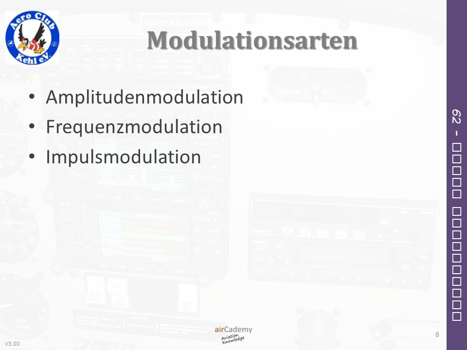 V3.00 62 – Radio Navigation Modulationsarten Amplitudenmodulation Frequenzmodulation Impulsmodulation 8