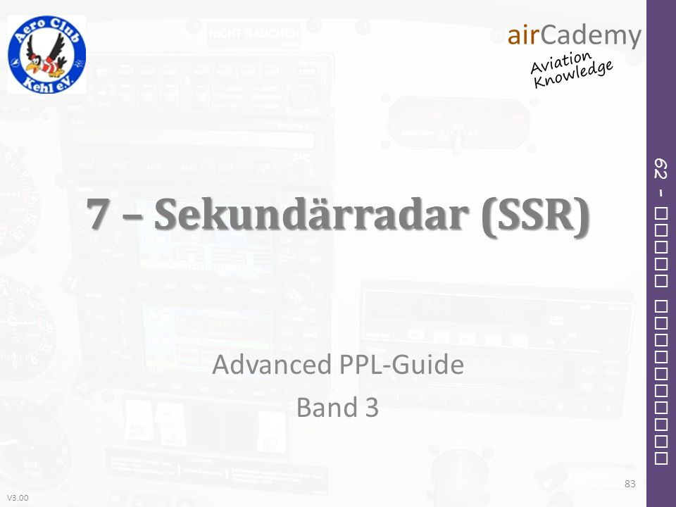 V3.00 62 – Radio Navigation 7 – Sekundärradar (SSR) Advanced PPL-Guide Band 3 83