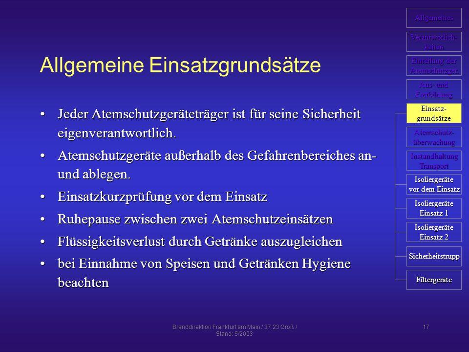 Branddirektion Frankfurt am Main / 37.23 Groß / Stand: 5/2003 17 Allgemeine Einsatzgrundsätze Jeder Atemschutzgeräteträger ist für seine Sicherheit eigenverantwortlich.Jeder Atemschutzgeräteträger ist für seine Sicherheit eigenverantwortlich.