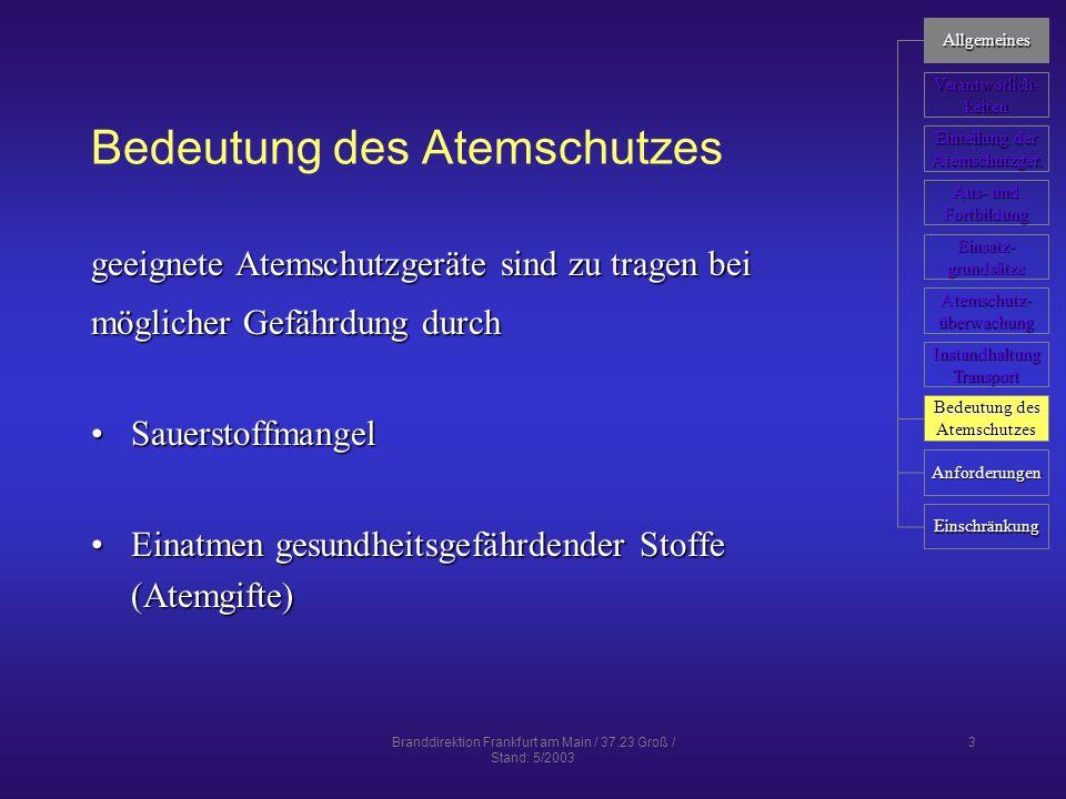 Branddirektion Frankfurt am Main / 37.23 Groß / Stand: 5/2003 14 Aus- und Fortbildung Ausbildung zum Atemschutzgeräteträger gemäß FwDV 2/1 Ausbildung der Freiwilligen Feuerwehren)gemäß FwDV 2/1 Ausbildung der Freiwilligen Feuerwehren) an anerkannter Ausbildungsstättean anerkannter AusbildungsstätteZiele Befähigung zum Einsatz unter AtemschutzBefähigung zum Einsatz unter Atemschutz Gewöhnung an erschwerte EinsatzbedingungenGewöhnung an erschwerte Einsatzbedingungen Verhalten nach EinsatzgrunsätzenVerhalten nach Einsatzgrunsätzen fehlerfreie Handhabung der Gerätefehlerfreie Handhabung der Geräte Allgemeines Verantworlich- keiten Einteilung der Einteilung der Atemschutzger.