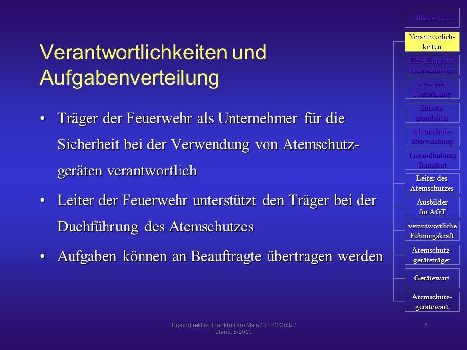 Branddirektion Frankfurt am Main / 37.23 Groß / Stand: 5/2003 27 Dokumentation persönlicher Atemschutznachweis ist zu führen (kann auch zentral geführt werden)persönlicher Atemschutznachweis ist zu führen (kann auch zentral geführt werden) hier werden dokumentierthier werden dokumentiert –Untersuchungstermine (G 26) –Aus- und Fortbildung –Unterweisungen –Einsätze Gerätenachweis ist durch Atemschutzgerätewart zu führenGerätenachweis ist durch Atemschutzgerätewart zu führen Allgemeines Verantworlich- keiten Einteilung der Einteilung der Atemschutzger.