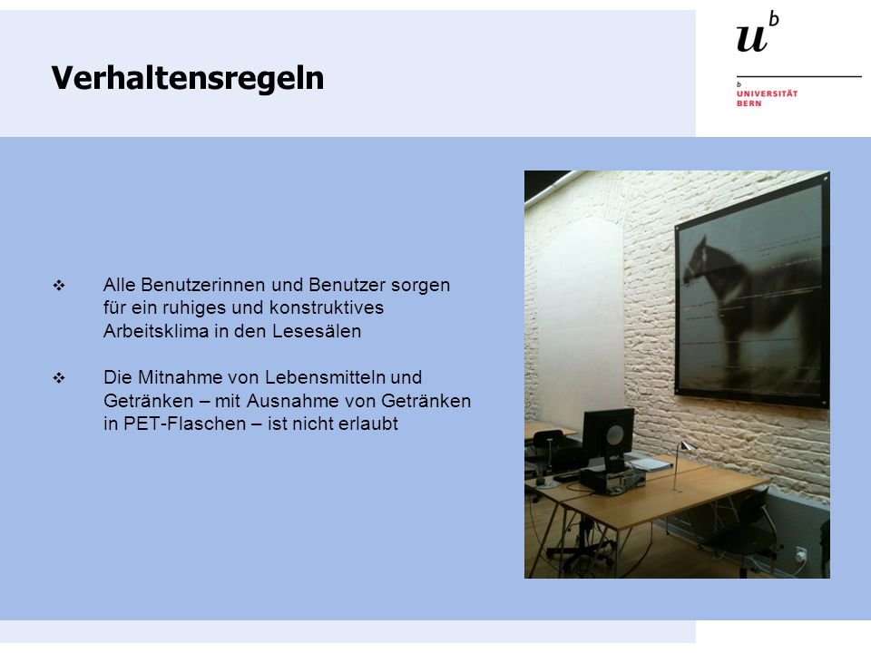 Information Dienstleistungen der Information: Allgemeine Auskunftserteilung Hilfestellung bei Recherchen Benutzerausweis IDS Basel/Bern Möglichkeit zum Kopieren