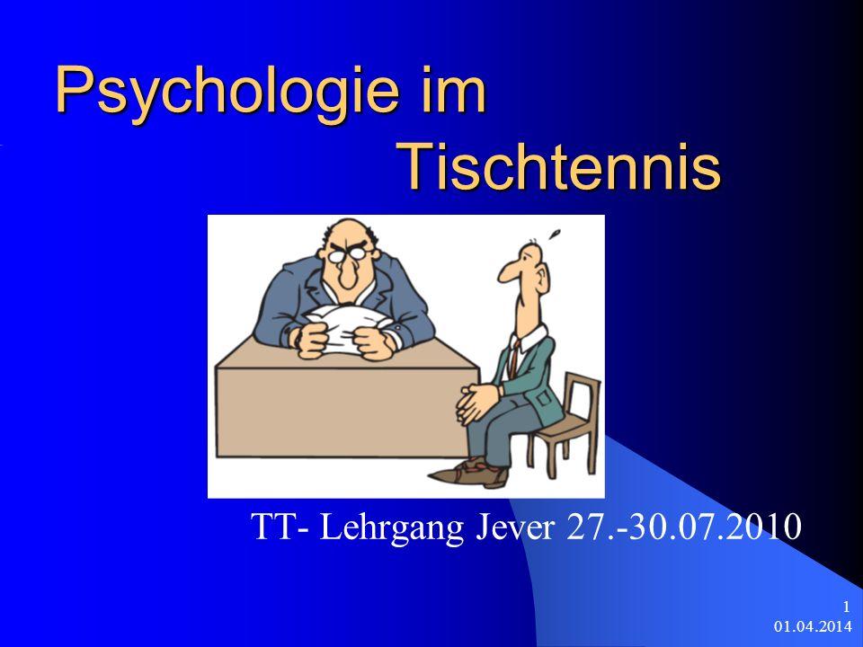01.04.2014 1 Psychologie im Tischtennis TT- Lehrgang Jever 27.-30.07.2010
