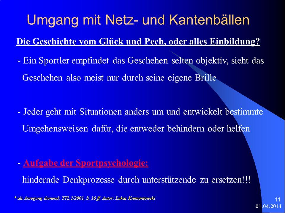 01.04.2014 11 Umgang mit Netz- und Kantenbällen Die Geschichte vom Glück und Pech, oder alles Einbildung.
