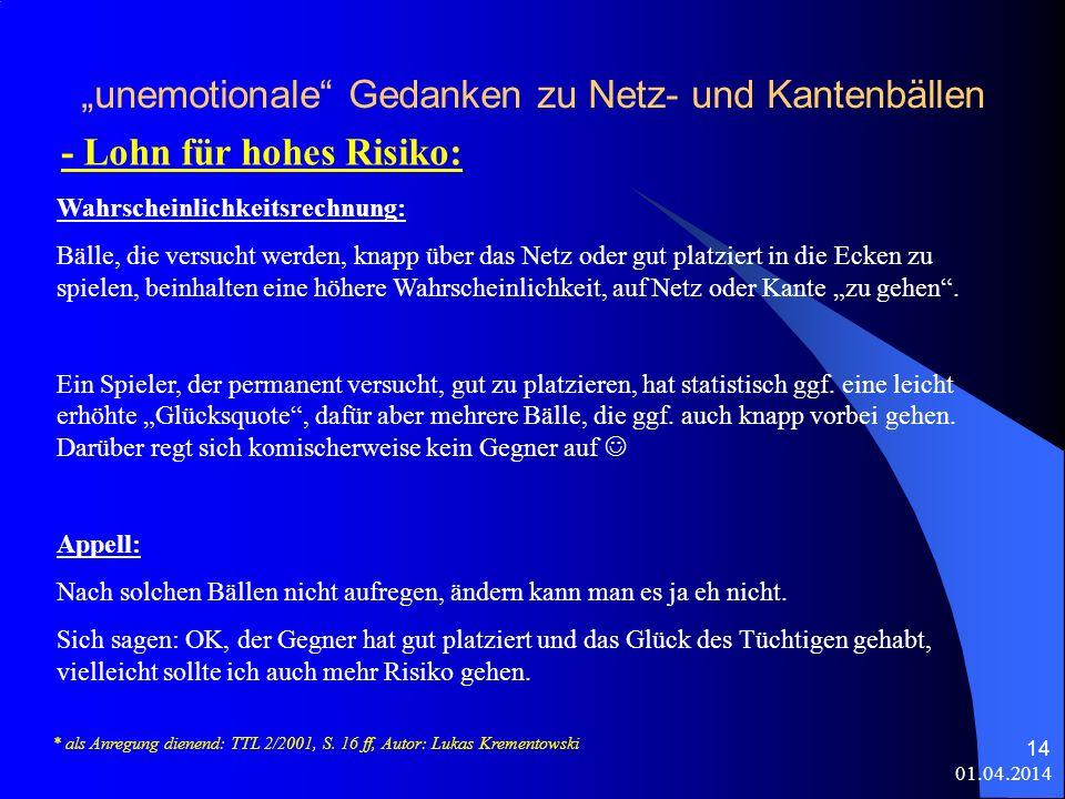 01.04.2014 14 unemotionale Gedanken zu Netz- und Kantenbällen - Lohn für hohes Risiko: * als Anregung dienend: TTL 2/2001, S.