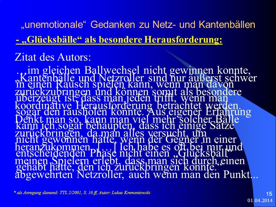 01.04.2014 15 unemotionale Gedanken zu Netz- und Kantenbällen - Glücksbälle als besondere Herausforderung: * als Anregung dienend: TTL 2/2001, S.