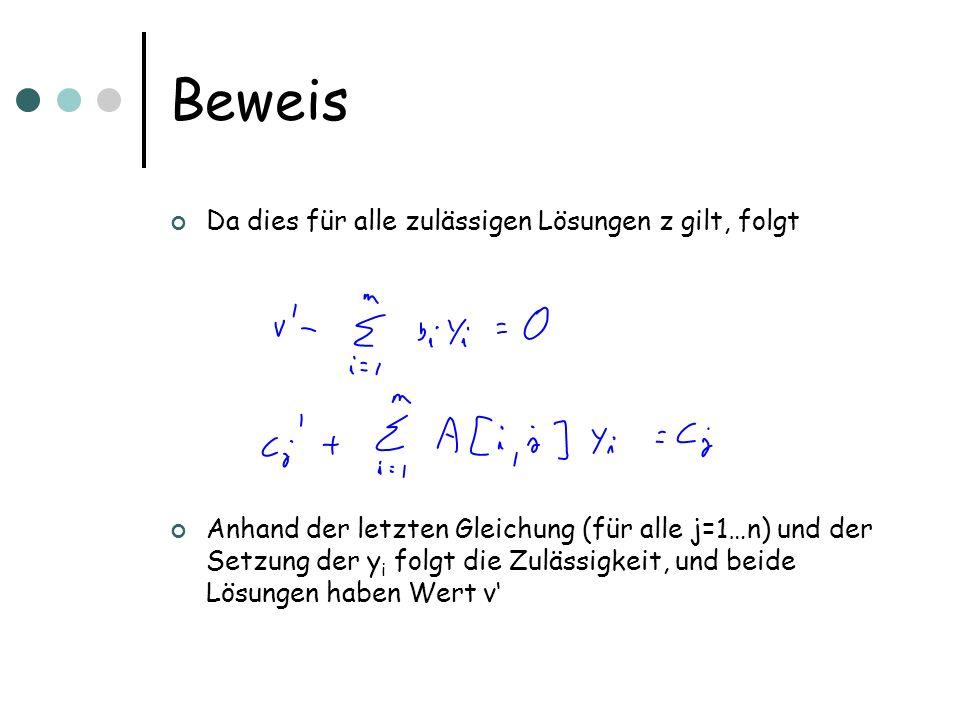 Da dies für alle zulässigen Lösungen z gilt, folgt Anhand der letzten Gleichung (für alle j=1…n) und der Setzung der y i folgt die Zulässigkeit, und b
