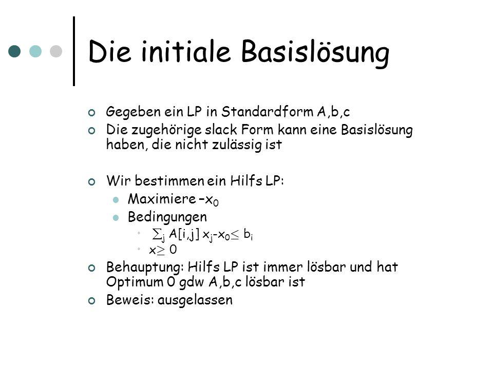 Die initiale Basislösung Gegeben ein LP in Standardform A,b,c Die zugehörige slack Form kann eine Basislösung haben, die nicht zulässig ist Wir bestim