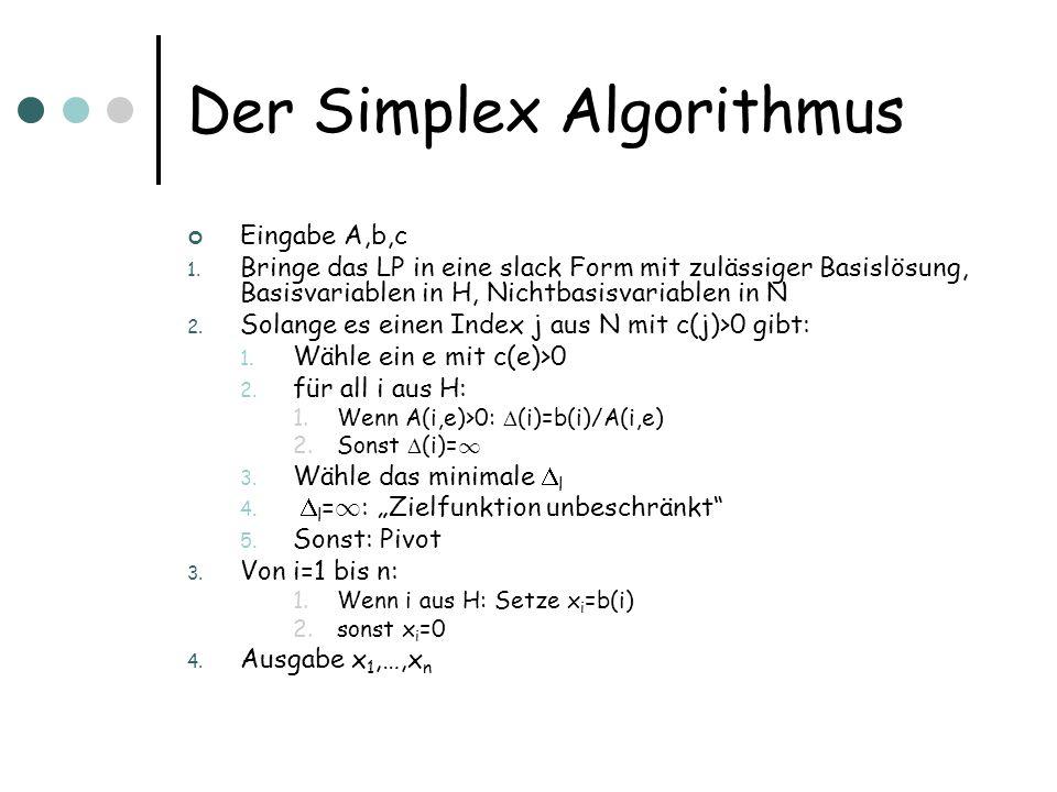 Der Simplex Algorithmus Eingabe A,b,c 1. Bringe das LP in eine slack Form mit zulässiger Basislösung, Basisvariablen in H, Nichtbasisvariablen in N 2.