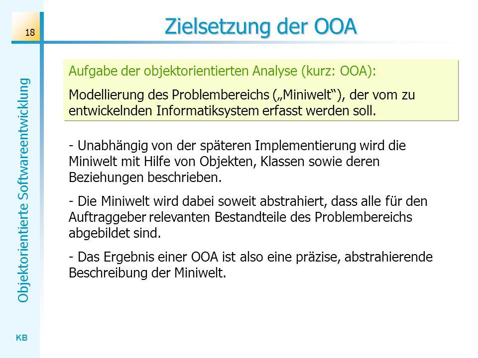 KB Objektorientierte Softwareentwicklung 18 Zielsetzung der OOA - Unabhängig von der späteren Implementierung wird die Miniwelt mit Hilfe von Objekten