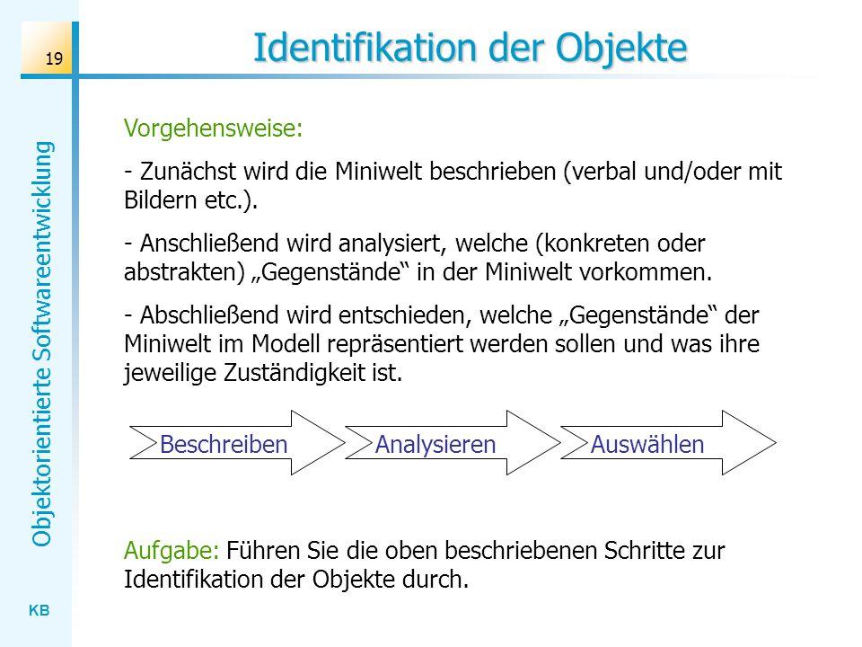KB Objektorientierte Softwareentwicklung 19 Identifikation der Objekte Vorgehensweise: - Zunächst wird die Miniwelt beschrieben (verbal und/oder mit B