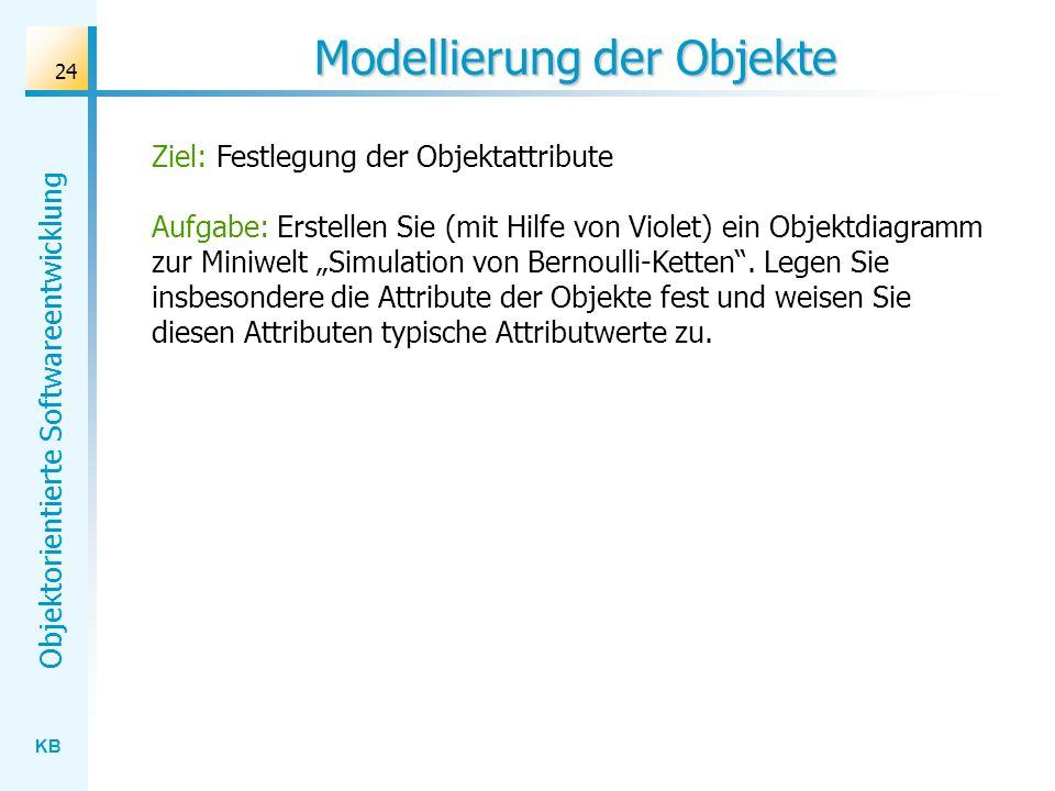 KB Objektorientierte Softwareentwicklung 24 Modellierung der Objekte Ziel: Festlegung der Objektattribute Aufgabe: Erstellen Sie (mit Hilfe von Violet
