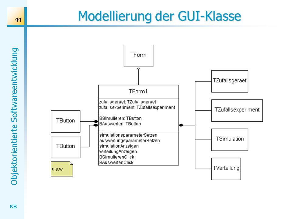 KB Objektorientierte Softwareentwicklung 44 Modellierung der GUI-Klasse
