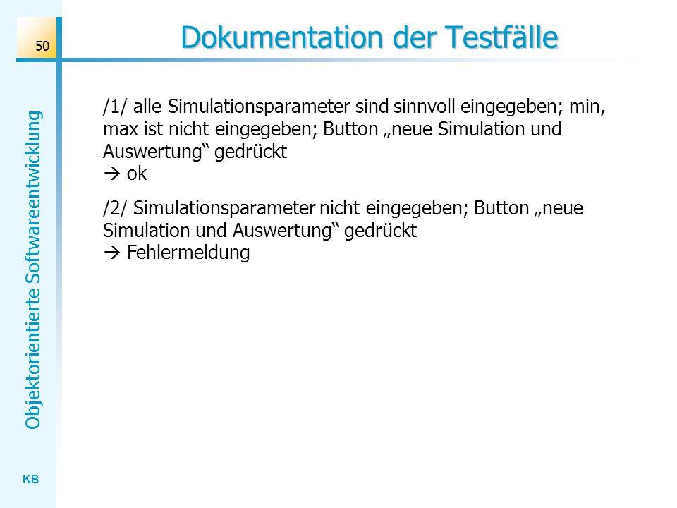 KB Objektorientierte Softwareentwicklung 50 Dokumentation der Testfälle /1/ alle Simulationsparameter sind sinnvoll eingegeben; min, max ist nicht ein
