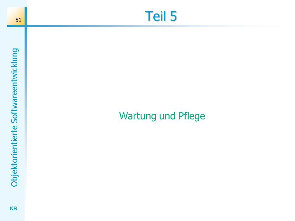 KB Objektorientierte Softwareentwicklung 51 Teil 5 Wartung und Pflege
