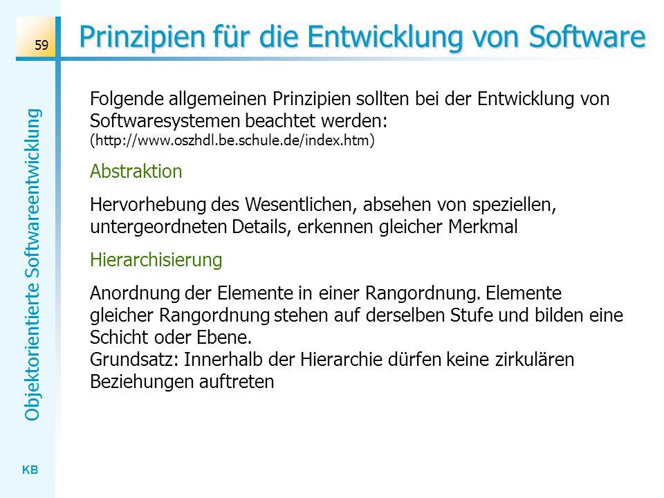 KB Objektorientierte Softwareentwicklung 59 Prinzipien für die Entwicklung von Software Folgende allgemeinen Prinzipien sollten bei der Entwicklung vo