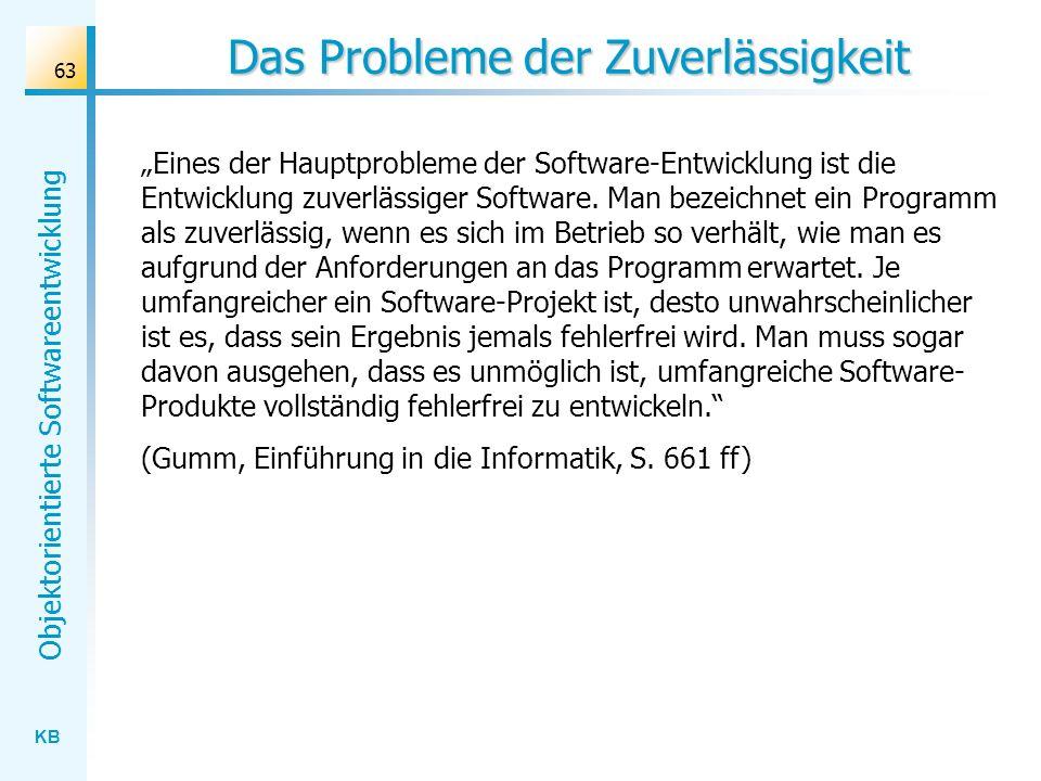KB Objektorientierte Softwareentwicklung 63 Das Probleme der Zuverlässigkeit Eines der Hauptprobleme der Software-Entwicklung ist die Entwicklung zuve