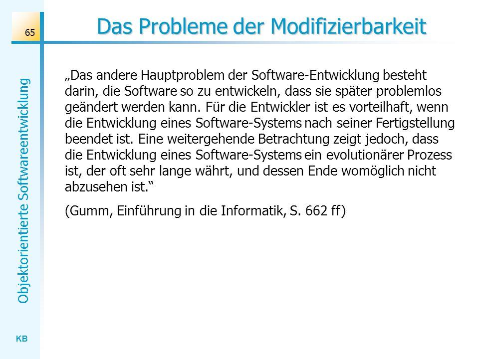 KB Objektorientierte Softwareentwicklung 65 Das Probleme der Modifizierbarkeit Das andere Hauptproblem der Software-Entwicklung besteht darin, die Sof