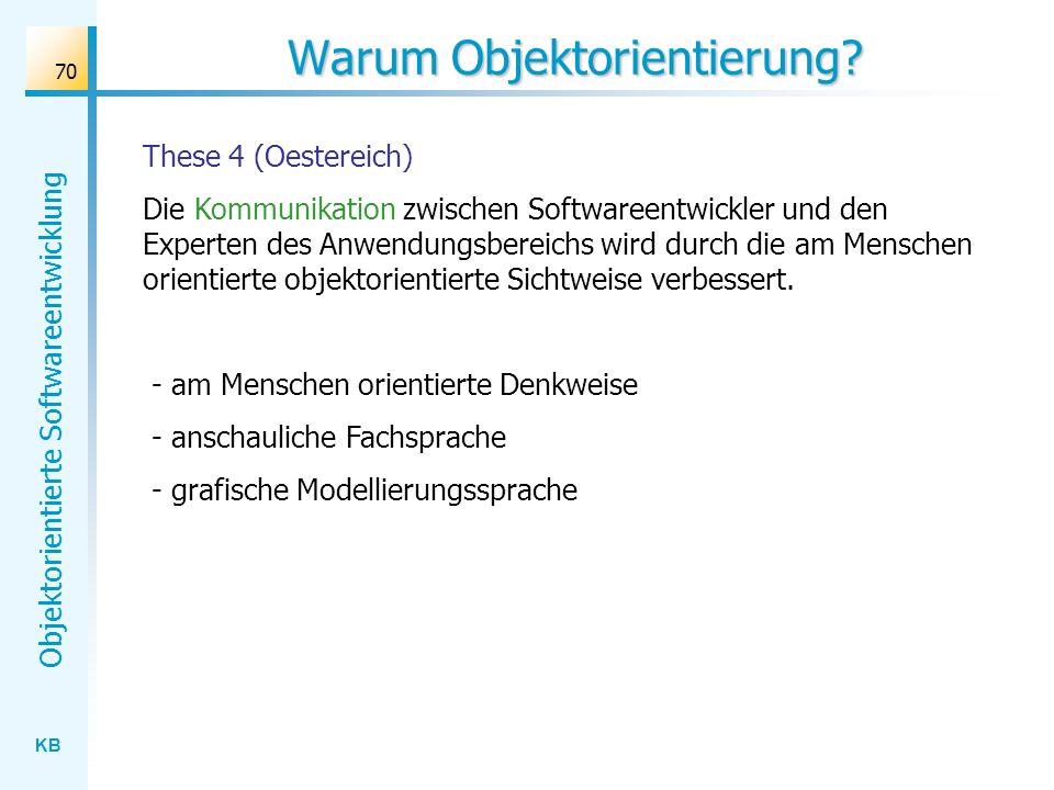 KB Objektorientierte Softwareentwicklung 70 Warum Objektorientierung? These 4 (Oestereich) Die Kommunikation zwischen Softwareentwickler und den Exper