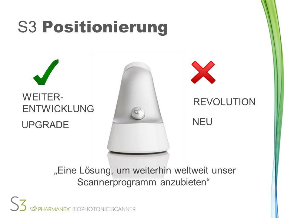 2. Gerät Eine Lösung, um weiterhin weltweit unser Scannerprogramm anzubieten S3 Positionierung WEITER- ENTWICKLUNG REVOLUTION UPGRADE NEU