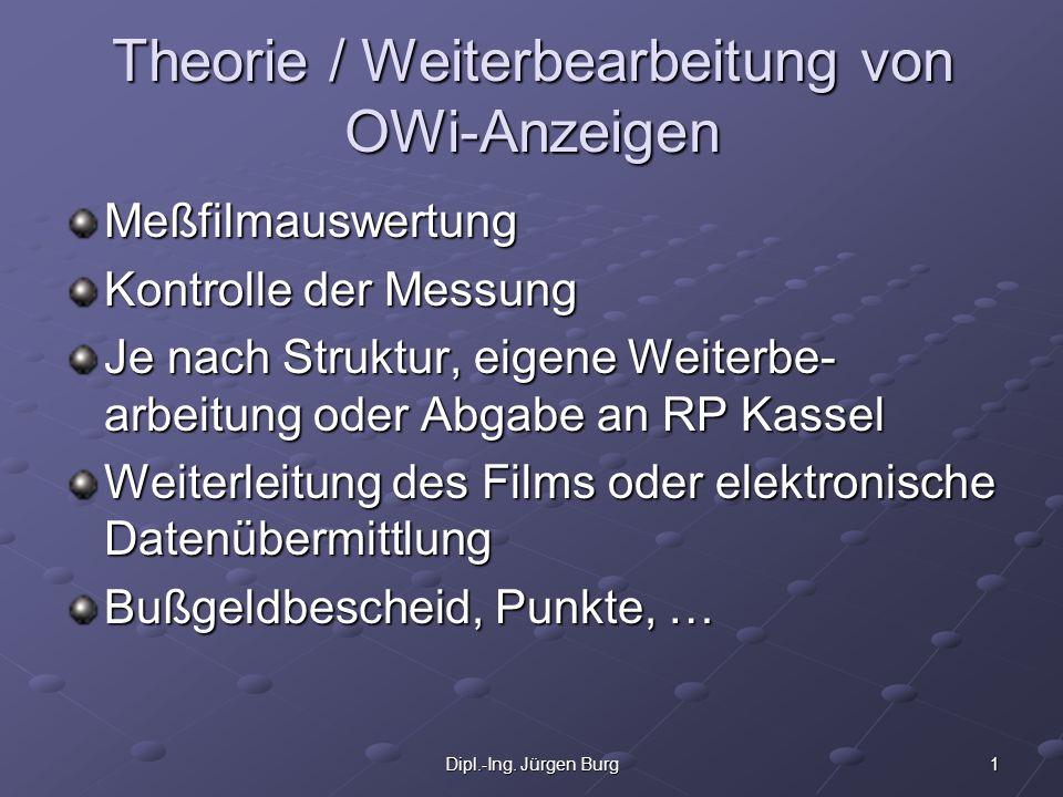 1Dipl.-Ing. Jürgen Burg Theorie / Weiterbearbeitung von OWi-Anzeigen Meßfilmauswertung Kontrolle der Messung Je nach Struktur, eigene Weiterbe- arbeit