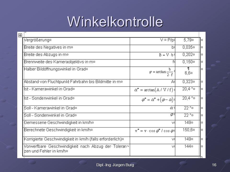 16Dipl.-Ing. Jürgen Burg Winkelkontrolle