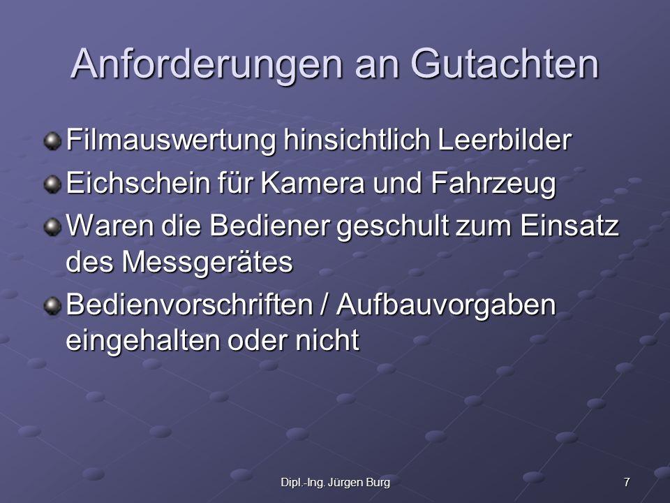 7Dipl.-Ing. Jürgen Burg Anforderungen an Gutachten Filmauswertung hinsichtlich Leerbilder Eichschein für Kamera und Fahrzeug Waren die Bediener geschu