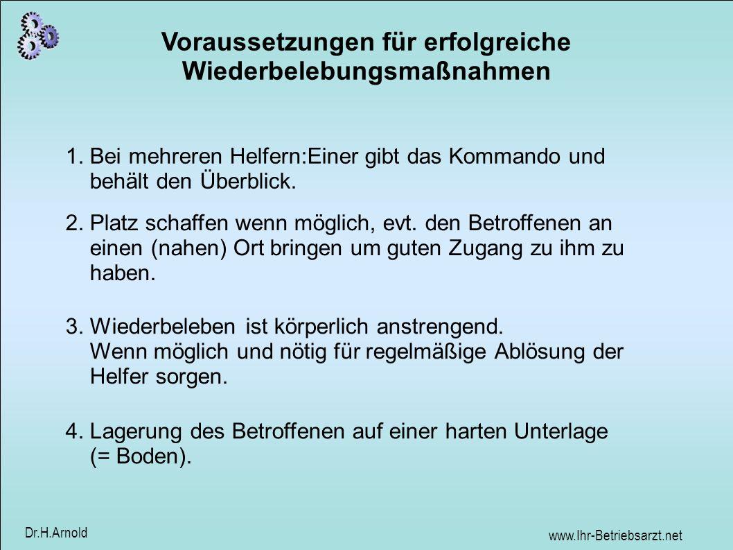 www.Ihr-Betriebsarzt.net Dr.H.Arnold Voraussetzungen für erfolgreiche Wiederbelebungsmaßnahmen 1.