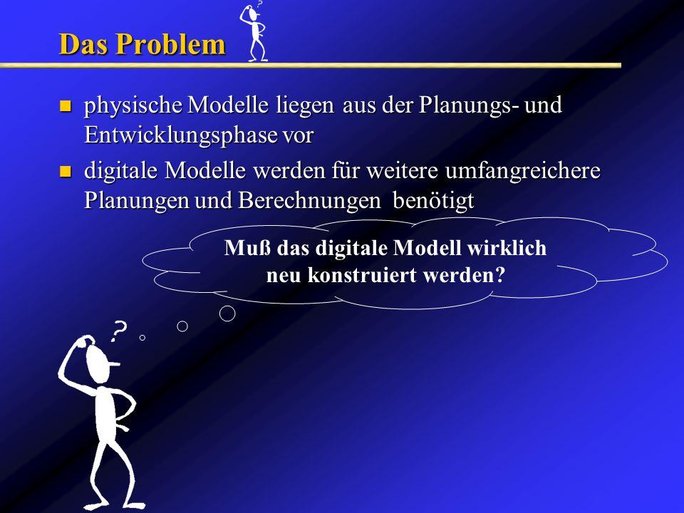 Muß das digitale Modell wirklich neu konstruiert werden? Das Problem physische Modelle liegen aus der Planungs- und Entwicklungsphase vor physische Mo