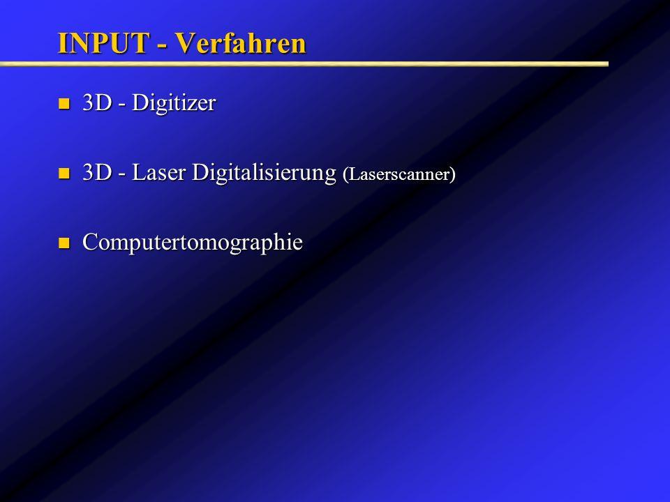 INPUT - Verfahren 3D - Digitizer 3D - Digitizer 3D - Laser Digitalisierung (Laserscanner) 3D - Laser Digitalisierung (Laserscanner) Computertomographi