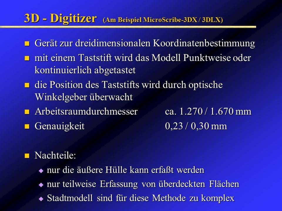 3D - Digitizer (Am Beispiel MicroScribe-3DX / 3DLX) Gerät zur dreidimensionalen Koordinatenbestimmung Gerät zur dreidimensionalen Koordinatenbestimmun