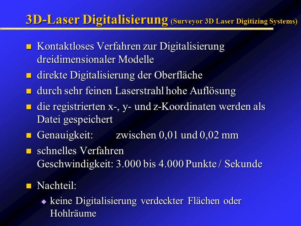 3D-Laser Digitalisierung (Surveyor 3D Laser Digitizing Systems) Kontaktloses Verfahren zur Digitalisierung dreidimensionaler Modelle Kontaktloses Verf