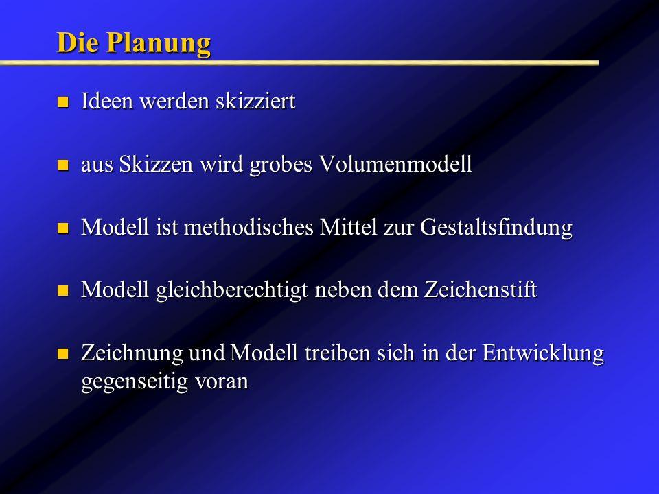 Die Planung Ideen werden skizziert Ideen werden skizziert aus Skizzen wird grobes Volumenmodell aus Skizzen wird grobes Volumenmodell Modell ist metho
