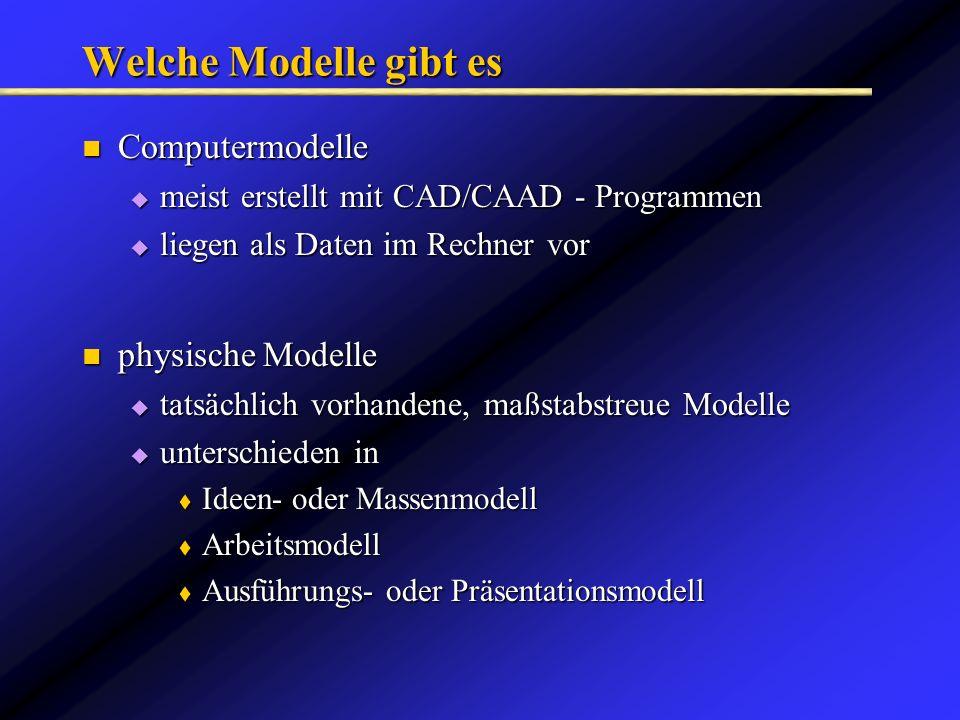 tatsächlich vorhandene, maßstabstreue Modelle tatsächlich vorhandene, maßstabstreue Modelle unterschieden in unterschieden in Ideen- oder Massenmodell