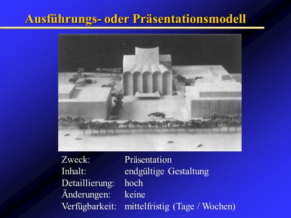 Ausführungs- oder Präsentationsmodell Zweck: Präsentation Inhalt: endgültige Gestaltung Detaillierung: hoch Änderungen: keine Verfügbarkeit: mittelfri